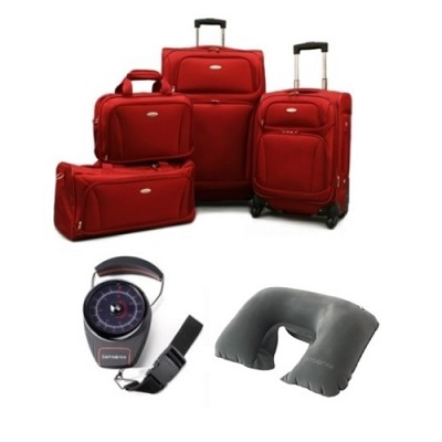 6 Piece Set 28.5` & 20.5` Spinners, Boarding Tote, Duffel, Scale & Pillow - Red