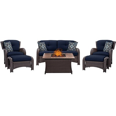 Strathmere 6-Piece Lounge Set in Navy Blue - STRATH6PCFP-NVY-TN