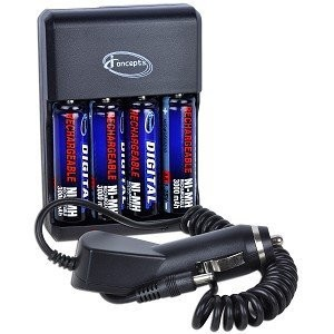 AA Rapid Multivoltage AC/DC Charger (100-240v) w/ 4 2800mah AA Batteries