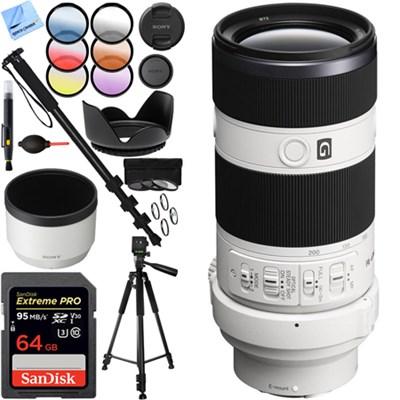 70-200mm Full Frame F4 G OIS Interchangeable E-Mount Lens - SEL70200G 64GB Kit