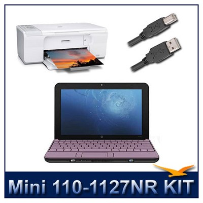 Mini 110-1127NR 10.1 inch Notebook PC With HP F4280 All-in-One Printer Bundle