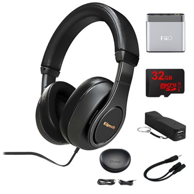 Reference Over-Ear Headphones (Black) w/ FiiO Portable Amplifier Bundle