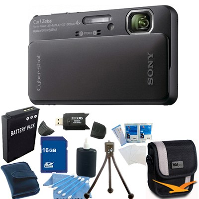 Cyber-shot DSC-TX10 Black Digital Camera 16GB Bundle