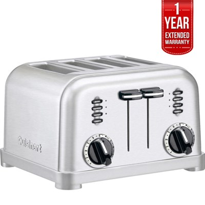4-Slice Metal Classic Toaster Brushed Steel + 1 Year Extended Warranty