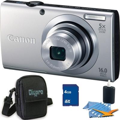 PowerShot A2400 IS 16MP Silver Digital Camera 4GB Bundle