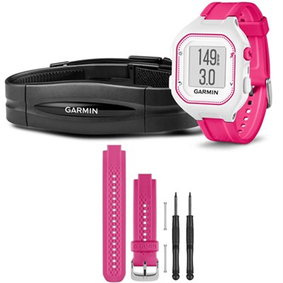 Forerunner 25 GPS Fitness Watch w/ Heart Rate Monitor Small Pink - Pink Bundle