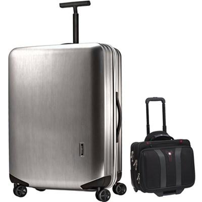 Inova Luggage 20` Hardside Spinner (Silver) Plus Wenger Laptop Boarding Bag