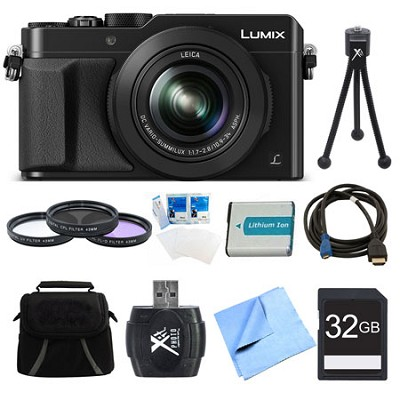 LUMIX LX100 Integrated Leica DC Lens Camera 32GB Filter Kit Bundle