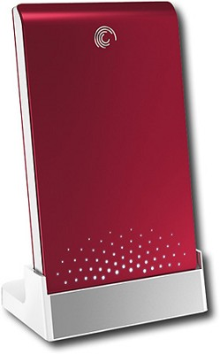 FreeAgent Go 640GB External USB 2.0 Portable Hard Drive - Ruby Red