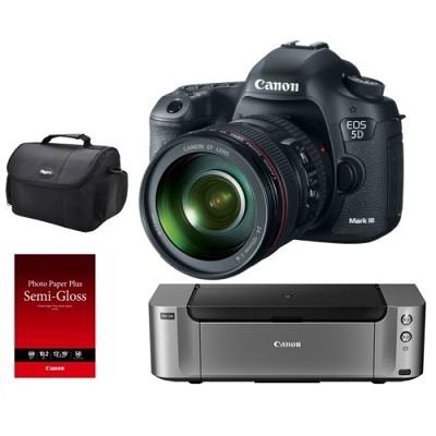 EOS 5D Mark III DSLR Camera Kit w/ 24-105mm Lens +Printer / Paper / Gadget Bag