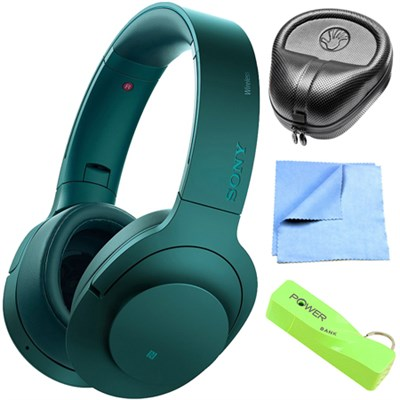 Wireless NC On-Ear Bluetooth Headphone w/ NFC Viridian Blue w/ Power Bank Bundle