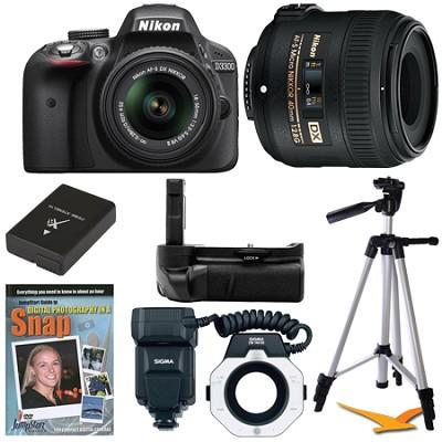 D3300 DSLR HD Black Digital Camera Macro Photographer Bundle