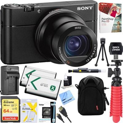 DSC-RX100 V 20.1MP Cyber-shot Digital Camera + 64GB Dual Battery Accessory Kit