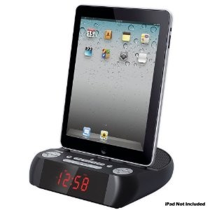 PICL90PAD iPad/iPhone/iPod Docking Speaker System with Alarm Clock and FM Radio