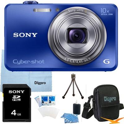 Cyber-shot DSC-WX150 18.2 MP 10x Optical HD Video Camera (Blue) 4GB Bundle