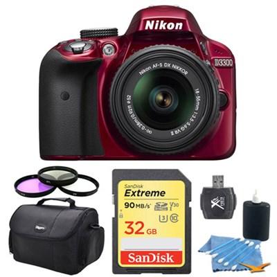 D3300 DSLR 24.2 MP HD 1080p Camera & 18-55mm Lens (Red) 32GB Lexar Card Bundle