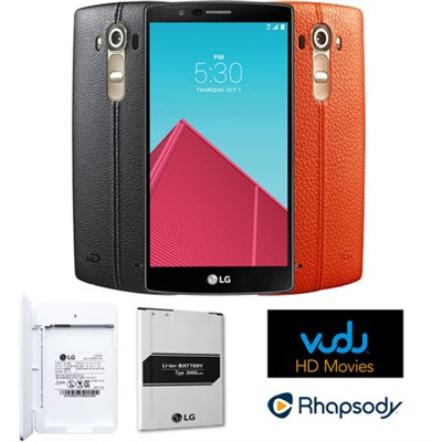 US991 G4 32GB Unlocked Smartphone Dual Leather Covers - Streaming & Power Bundle