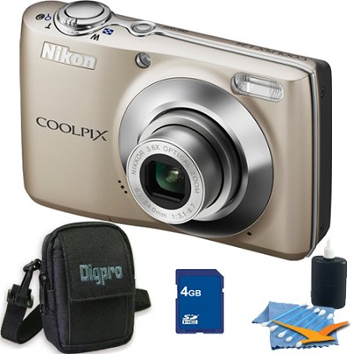 COOLPIX L24 14MP Silver Digital Camera 4GB Bundle