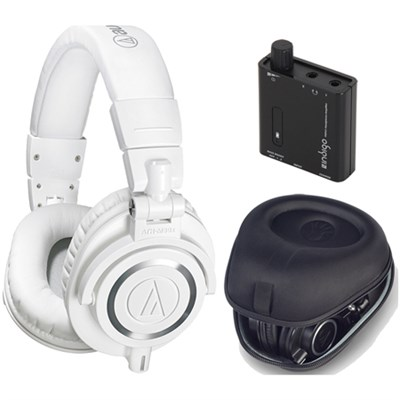ATH-M50X Professional Studio White Headphone w/ Slappa Case + Fiio Amp Bundle