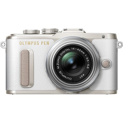 PEN E-PL8 16.1 MP Wi-Fi White Mirrorless Camera with 14-42mm IIR Silver Lens