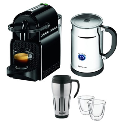 Inissia Espresso Maker with Aeroccino Plus Milk Frother  w/ Thermo Glasses & Mug
