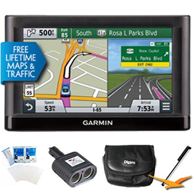 nuvi 66LMT GPS Nav w/ Lifetime Maps & Traffic 6` Display Essentials Bundle