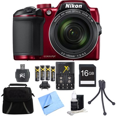 COOLPIX B500 16MP 40x Optical Zoom Digital Camera 16GB Accessory Bundle - Red