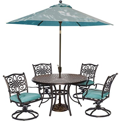 5pc Dining Set(TRADITIONS5PCSW)Umbrll(TRADITIONSUMB)&Stnd(UMBRELLABASE)