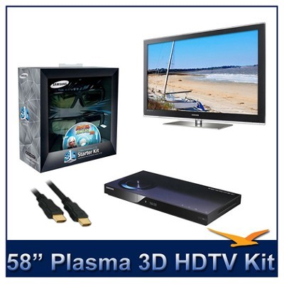 PN58C7000 - 58` 3D 1080p Plasma HDTV w/ 3D Glasses & Blu-Ray Player