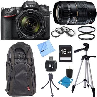 D7200 DX-format Digital SLR Camera & 18-140mm + Tamron 70-300mm Dual Lens Bundle