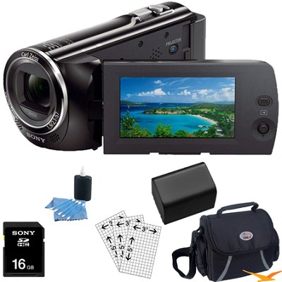 HDR-PJ230/B 8GB Full HD Camcorder with Projector Essentials Bundle