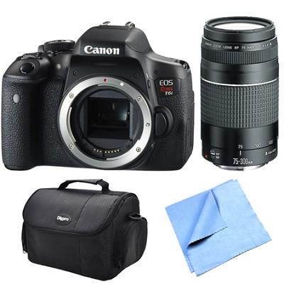 EOS Rebel T6i Digital SLR Camera Body 75-300mm F4-5.6 III Lens Bundle