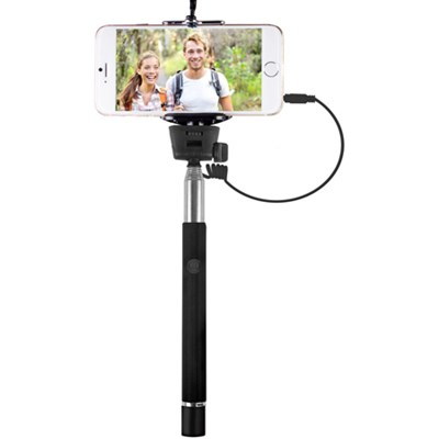 Smartphone Selfie Wand with Built-In Shutter Release (Black) VIV-TR-365-BLK