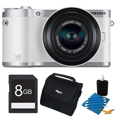 NX300 20.3 MP Digital Camera White 8GB Kit