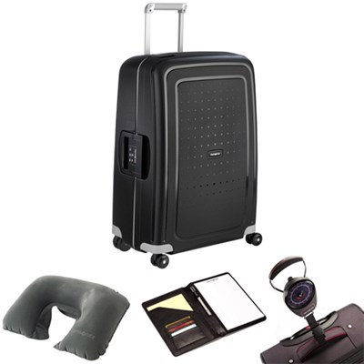 S'Cure 28` Spinner Luggage Black 49308-1041 w/ Travel Kit