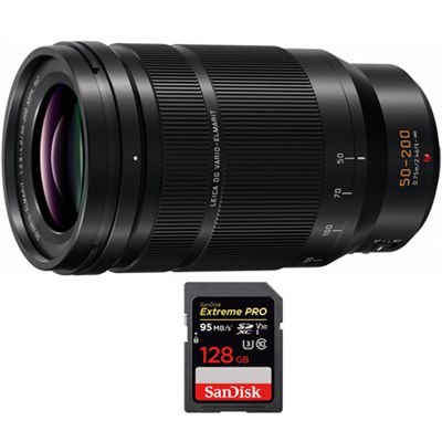 50-200mm f/2.8-4.0 Lumix G Leica DG Vario-Elmarit Power O.I.S. Lens + 128GB Card