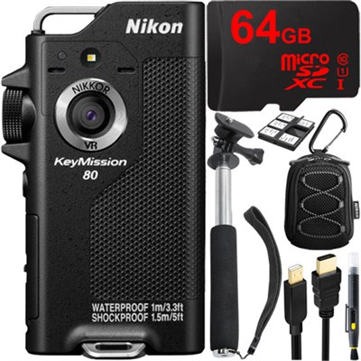 KeyMission 80 Full HD Action Camera with Built-In Wi-Fi + 64GB Accessory Bundle