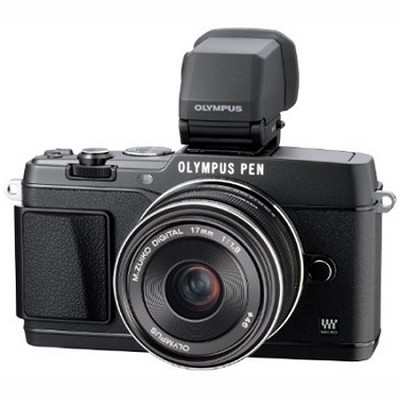 PEN E-P5 16MP Compact System Camera (Black) 17mm f1.8 Lens and VF-4 Viewfinder