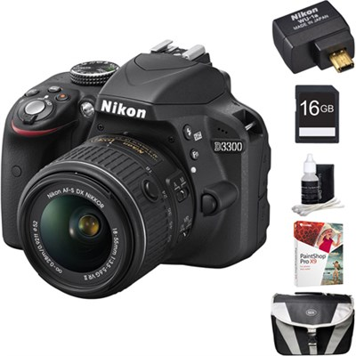 D3300 24.2 MP DSLR w/ 18-55 VR II Lens + WiFi Adapter + PaintShop Pro X8 Kit