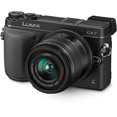 LUMIX DMC-GX7 Interchangeable Lens (DSLM) Black Camera with 14-42 II Lens