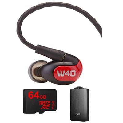 W40 Quad Driver Premium In-Ear Monitor Headphones - 78504 w/ FiiO A3 Amp Bundle
