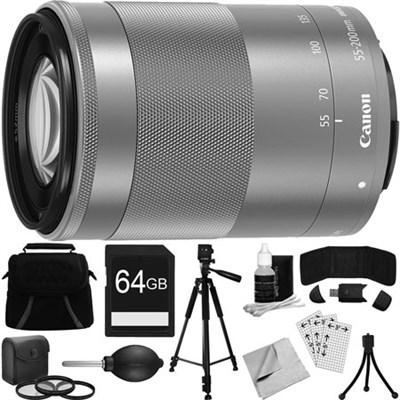 EF-M 55-200mm f/4.5-6.3 IS STM Lens w/ 49mm Filter + Tripod Deluxe Bundle