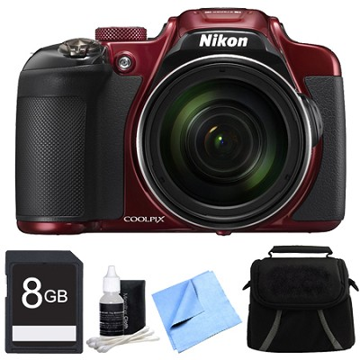 COOLPIX P610 16MP 60x Super Zoom HD, WiFi, GPS Digital Camera 8GB Bundle - Red