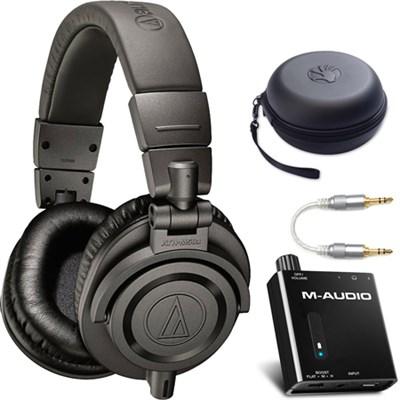 ATH-M50xMG Professional Studio Headphones w/ Portable Amplifier + Case Bundle