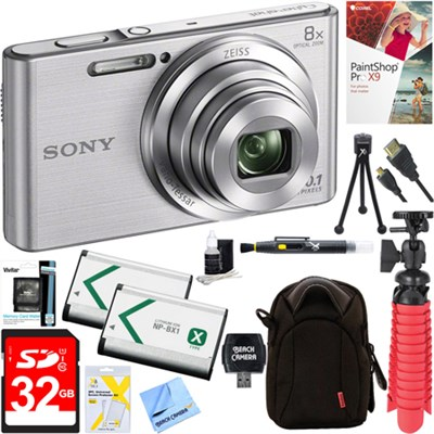DSC-W830 Cyber-Shot Silver Digital Camera + 32GB Dual Battery & Accessory Kit