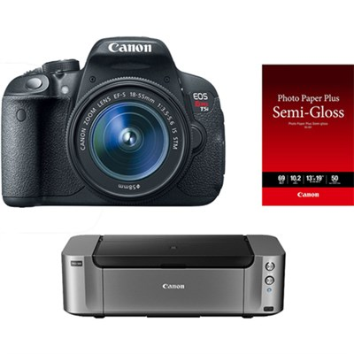 EOS T5i 18MP DSLR Camera w/ 18-55mm IS STM Lens & Printer Bundle + $350 MIR