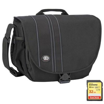 Rally 5 Camera/iPad Shoulder Bag (Black) Includes SanDisk 32GB Memory Card