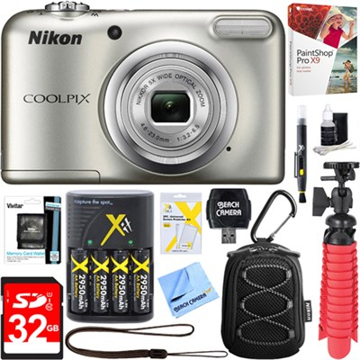 COOLPIX A10 16.1MP Digital Camera (Silver) + 32GB Deluxe Battery & Accessory Kit