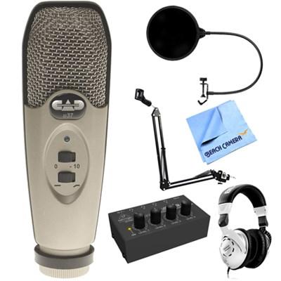 USB Large Diaphragm Cardioid Condenser Microphone + Headphone Amp Pack