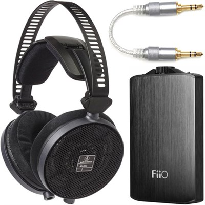 R70X Professional Open-Back Reference Headphones + FiiO A3 Amp Bundle (Black)